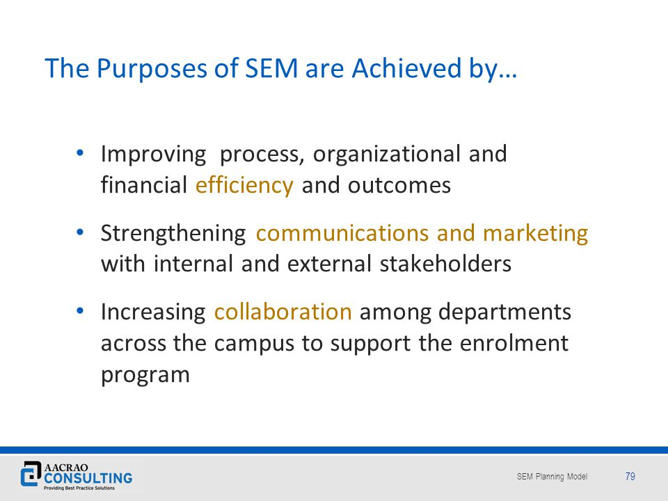 The Purposes of SEM are Achieved by…