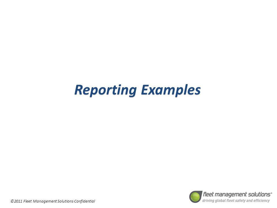 Reporting Examples