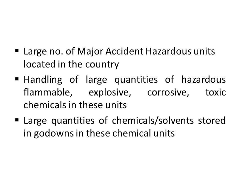 Large no. of Major Accident Hazardous units located in the country