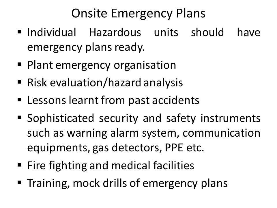 Onsite Emergency Plans