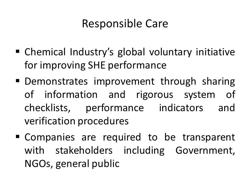 Responsible Care Chemical Industry's global voluntary initiative for improving SHE performance.