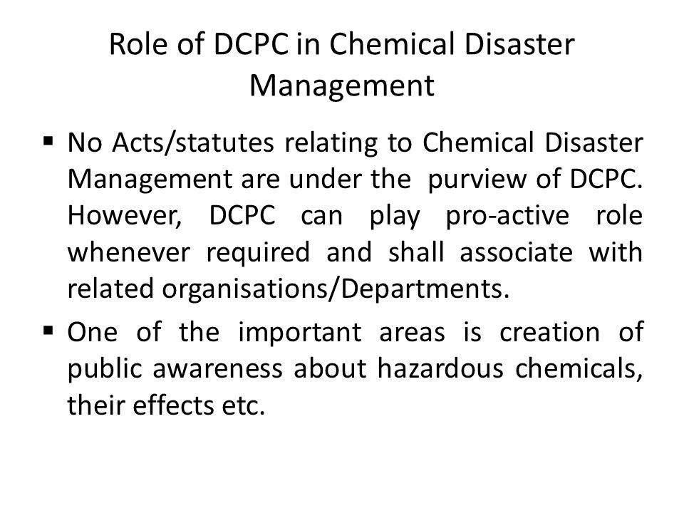 Role of DCPC in Chemical Disaster Management