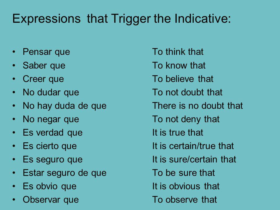 Expressions that Trigger the Indicative: