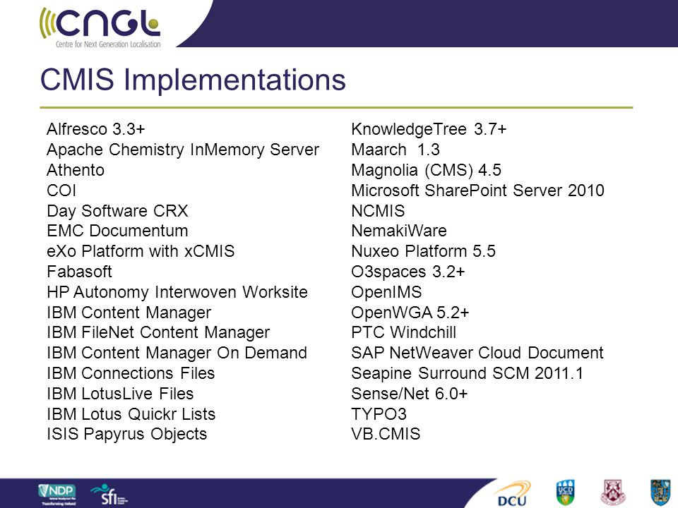 CMIS Implementations Alfresco 3.3+ Apache Chemistry InMemory Server