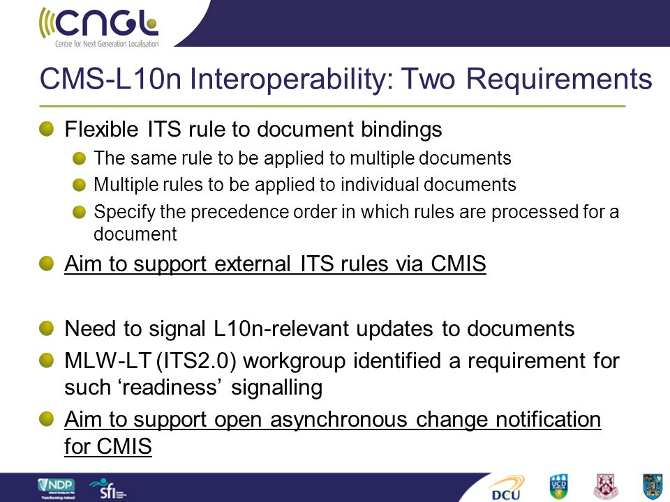 CMS-L10n Interoperability: Two Requirements