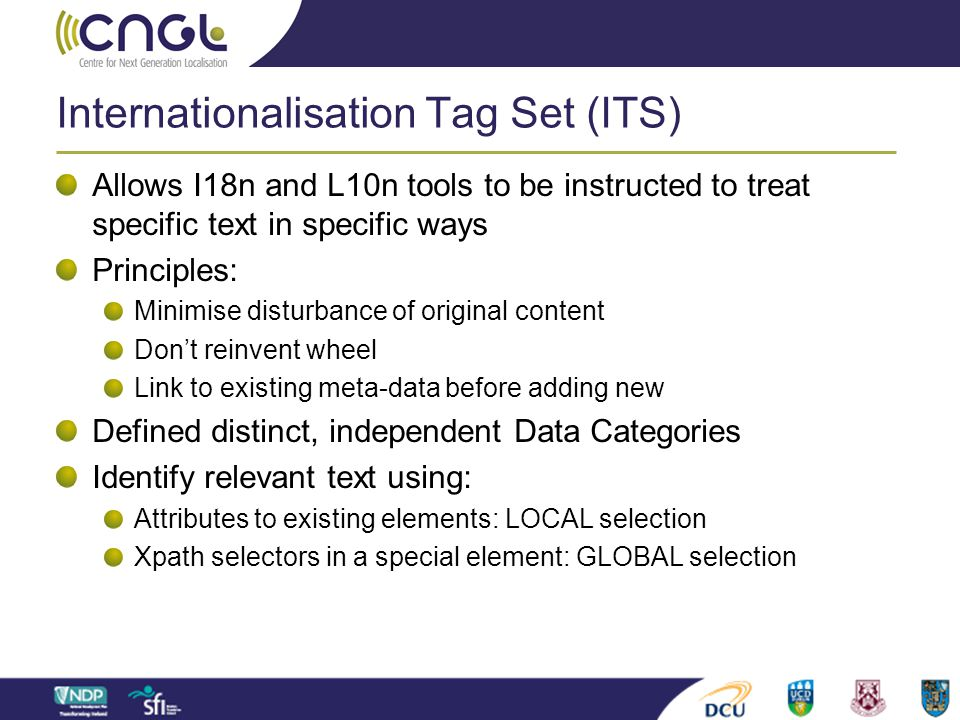 Internationalisation Tag Set (ITS)