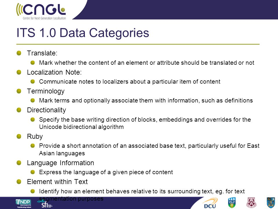 ITS 1.0 Data Categories Translate: Localization Note: Terminology