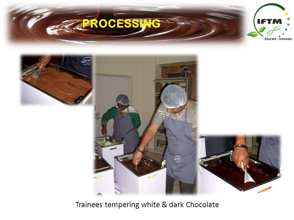 Trainees tempering white & dark Chocolate