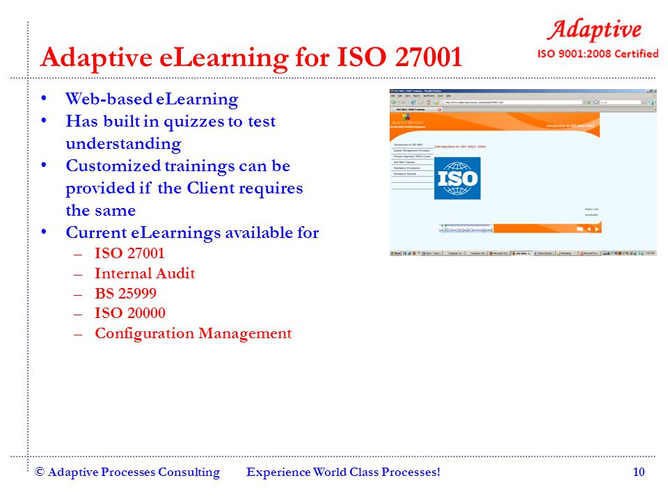 Adaptive eLearning for ISO 27001
