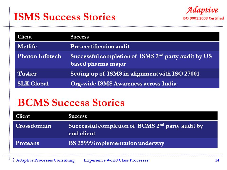 ISMS Success Stories BCMS Success Stories Metlife