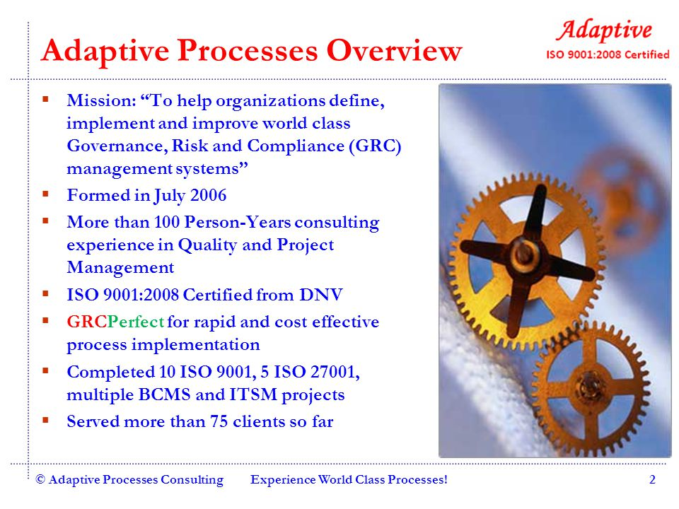Adaptive Processes Overview