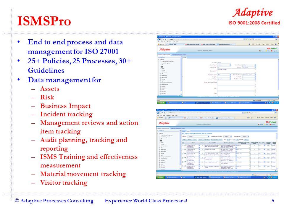 ISMSPro End to end process and data management for ISO 27001