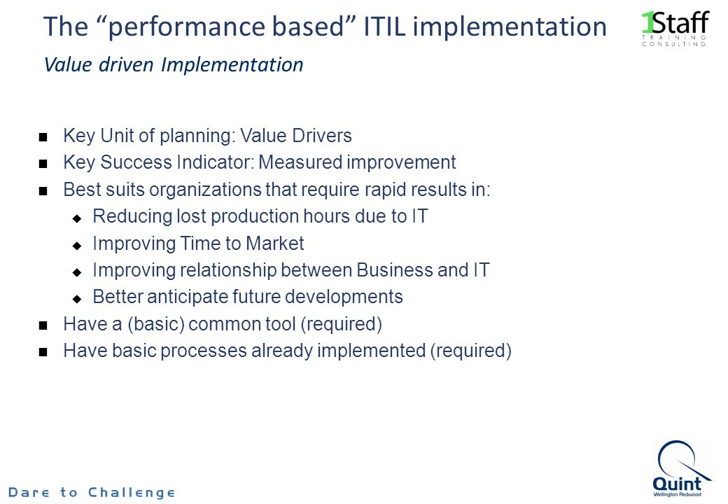 The performance based ITIL implementation Value driven Implementation