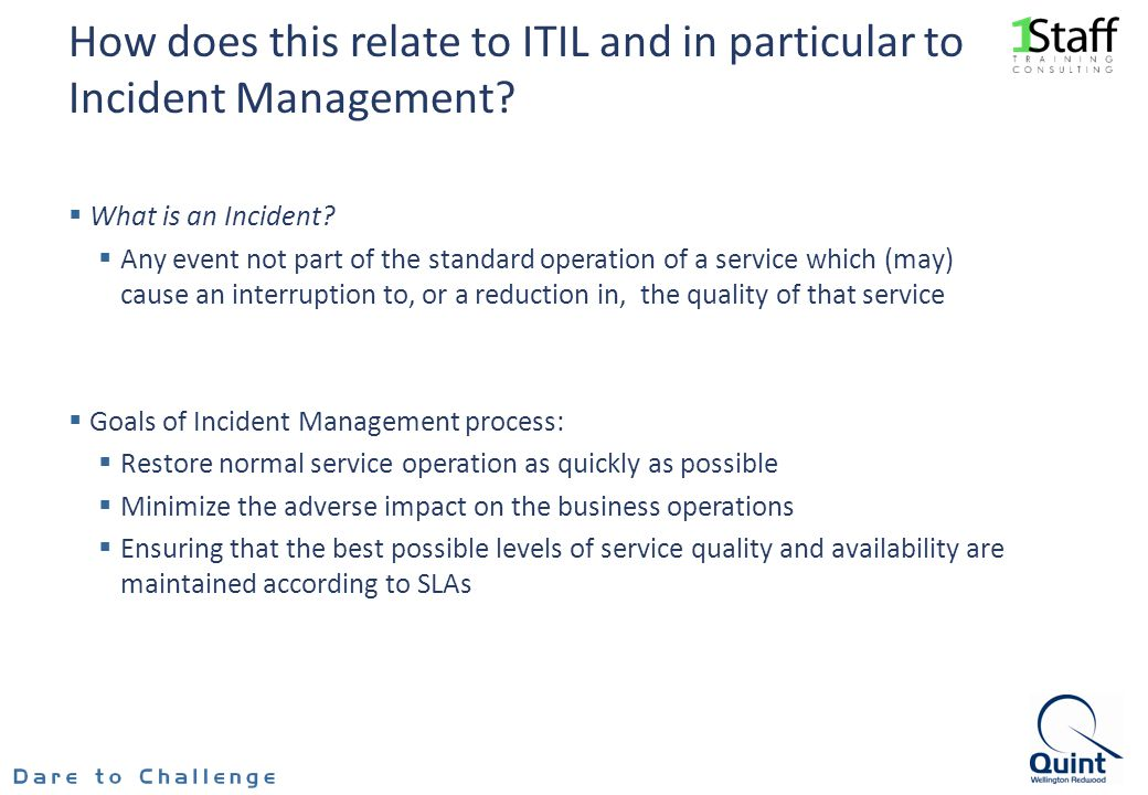 How does this relate to ITIL and in particular to Incident Management