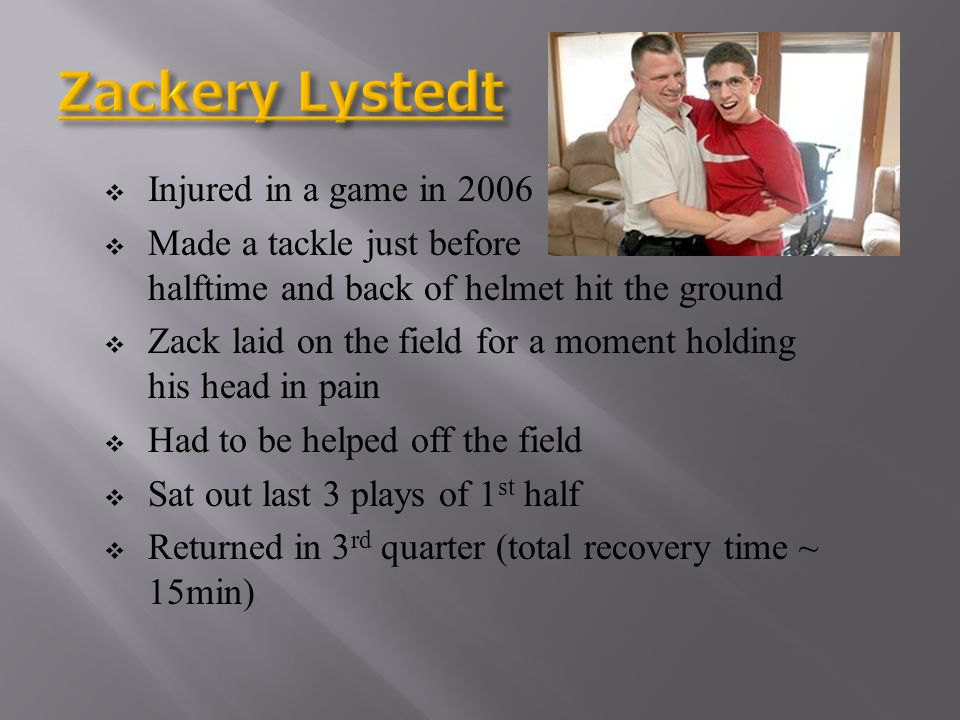 Zackery Lystedt Injured in a game in 2006