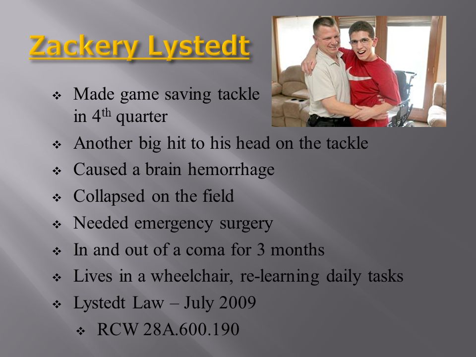 Zackery Lystedt Made game saving tackle in 4th quarter