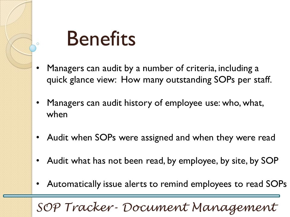 Benefits SOP Tracker- Document Management