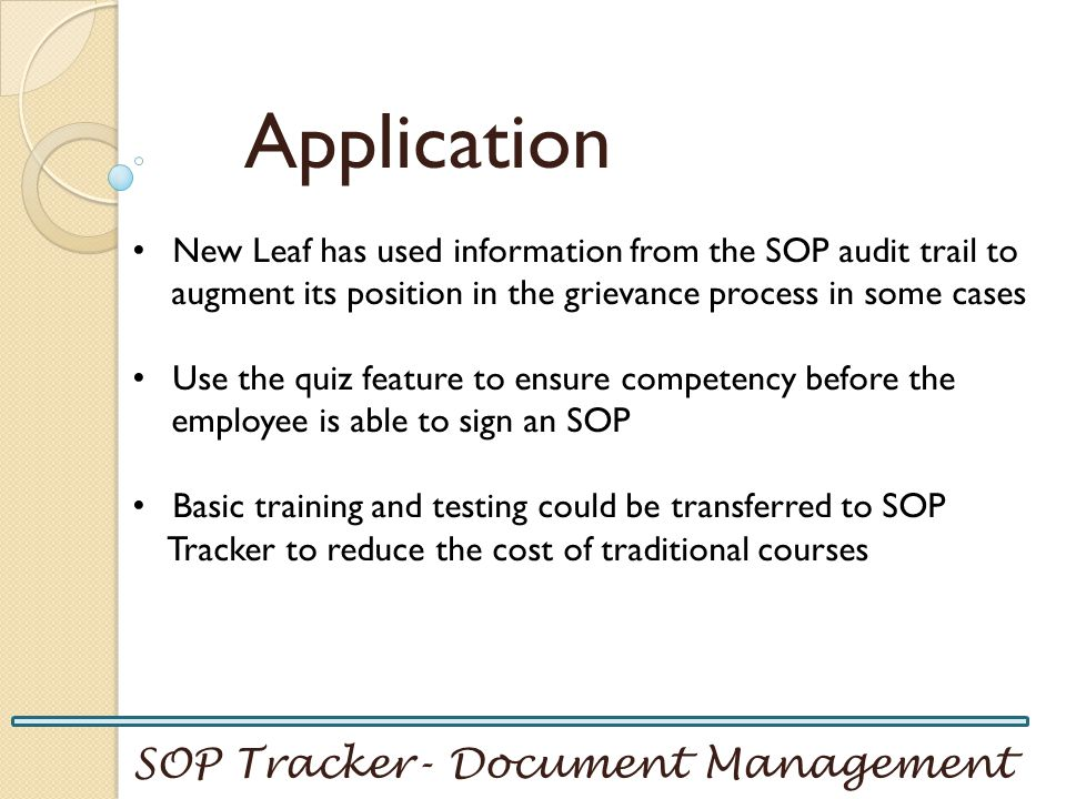 Application SOP Tracker- Document Management