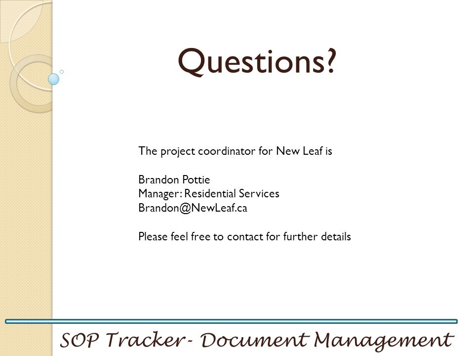 Questions SOP Tracker- Document Management