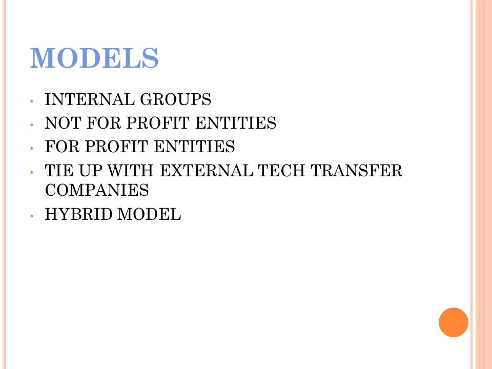 MODELS INTERNAL GROUPS NOT FOR PROFIT ENTITIES FOR PROFIT ENTITIES