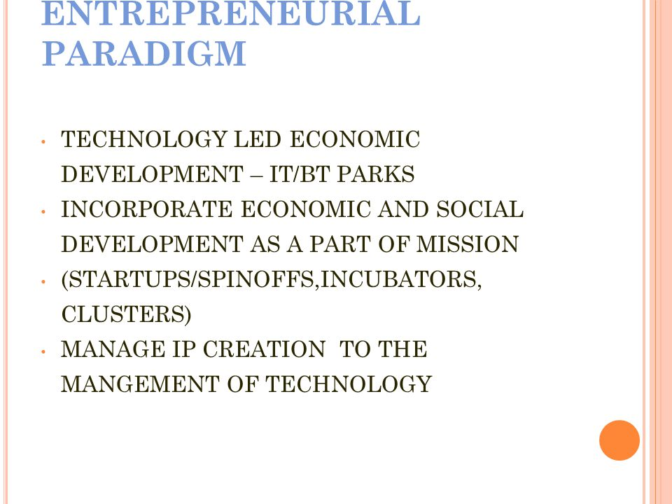 EVOLUTION FROM IVORY TOWER TO ENTREPRENEURIAL PARADIGM