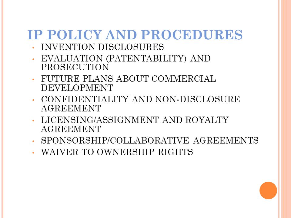 IP POLICY AND PROCEDURES
