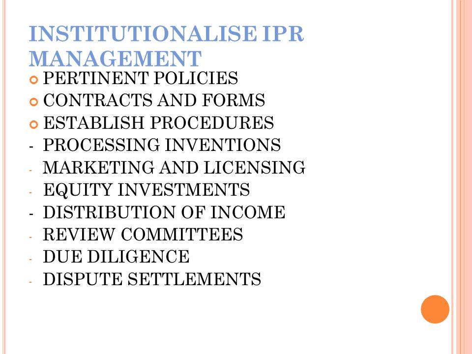 INSTITUTIONALISE IPR MANAGEMENT