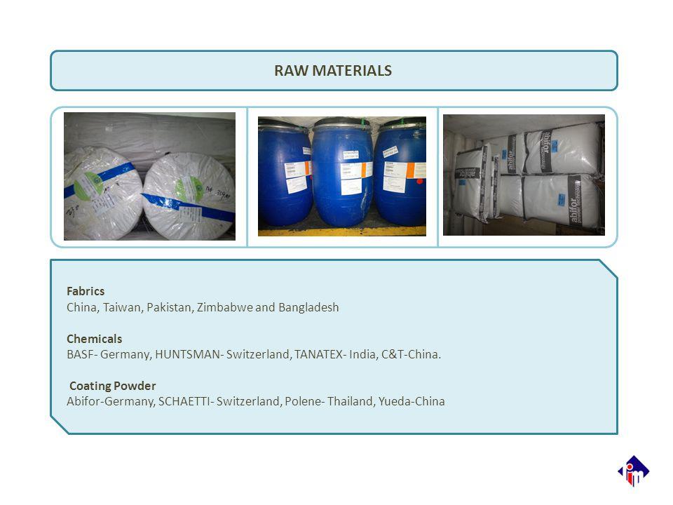 RAW MATERIALS Fabrics China, Taiwan, Pakistan, Zimbabwe and Bangladesh