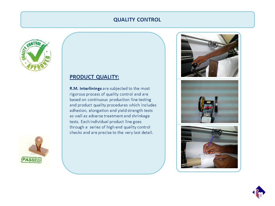 QUALITY CONTROL PRODUCT QUALITY: