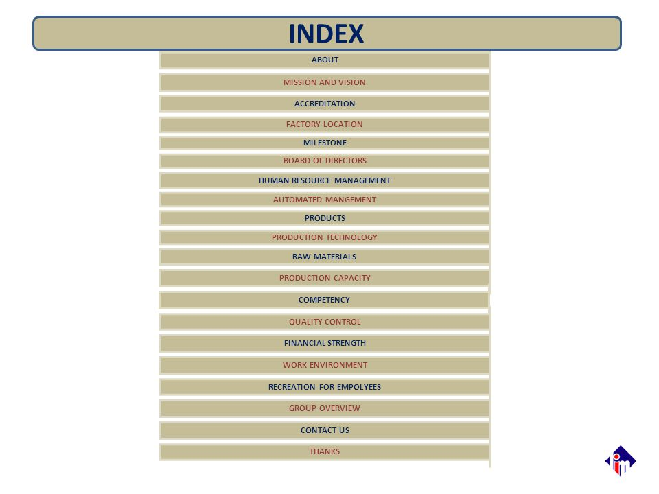 INDEX ABOUT MISSION AND VISION ACCREDITATION FACTORY LOCATION