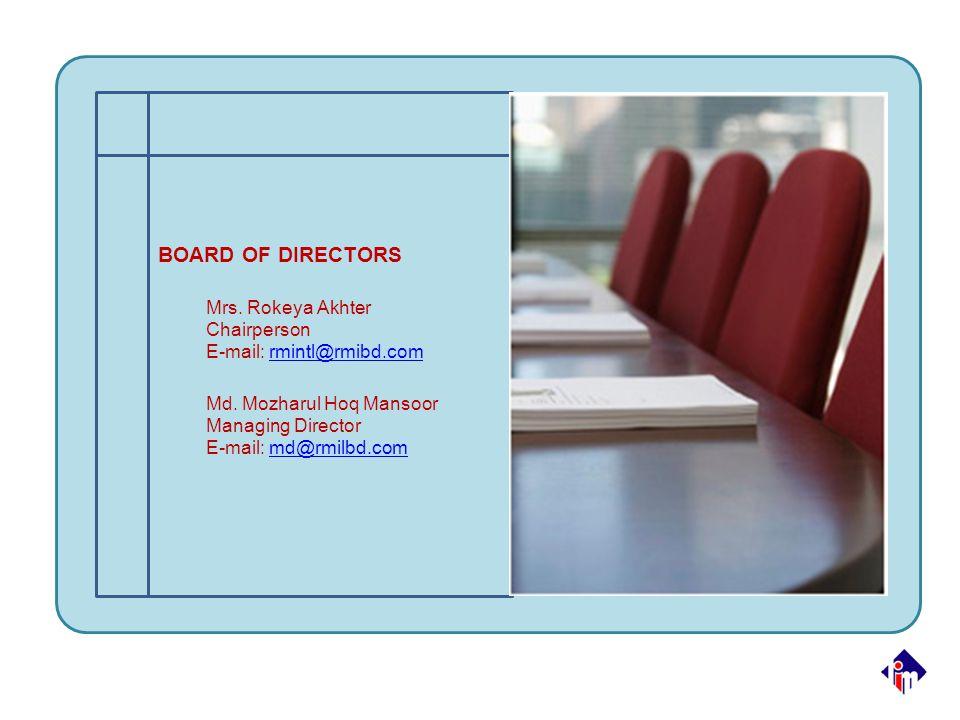 BOARD OF DIRECTORS Mrs. Rokeya Akhter Chairperson