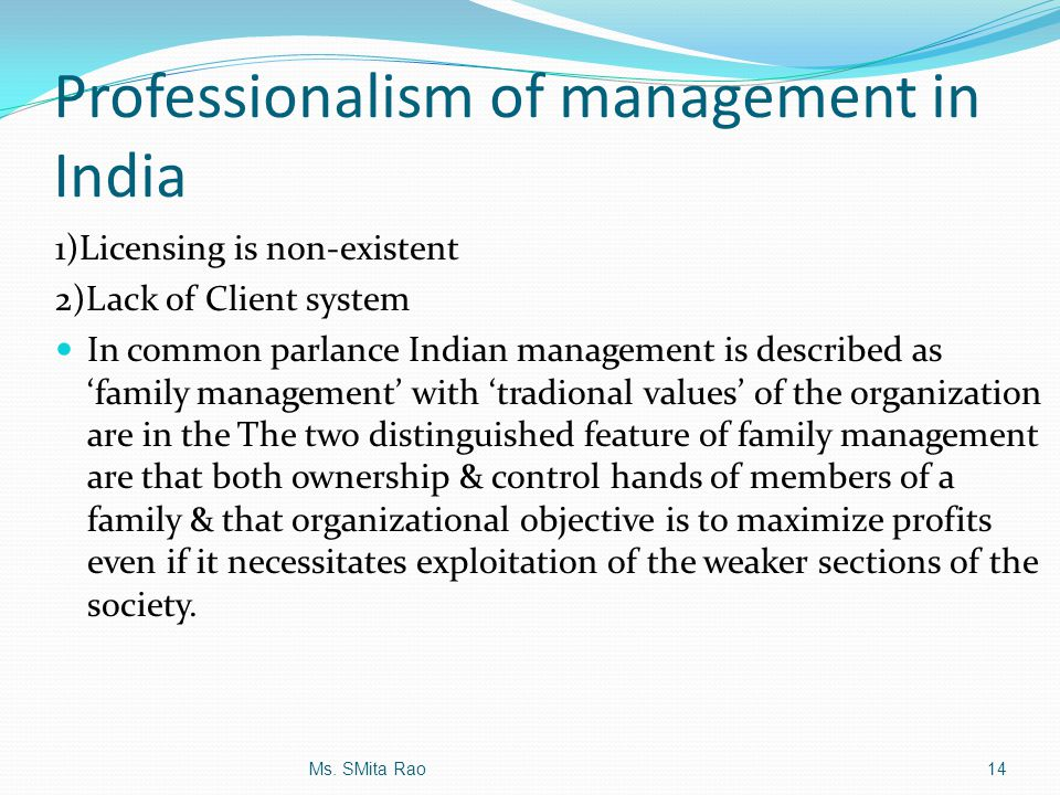 Professionalism of management in India