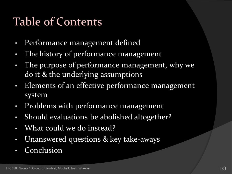 Table of Contents Performance management defined