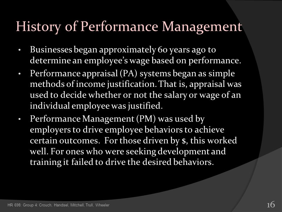 History of Performance Management
