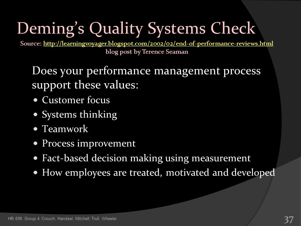 Deming's Quality Systems Check