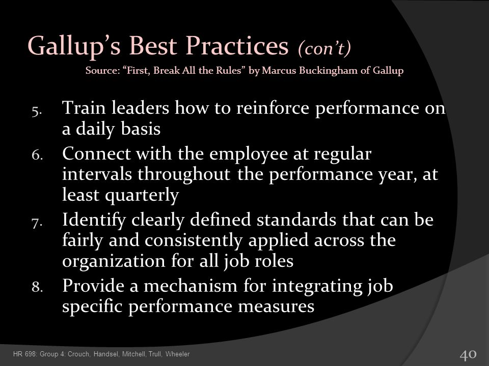 Gallup's Best Practices (con't)