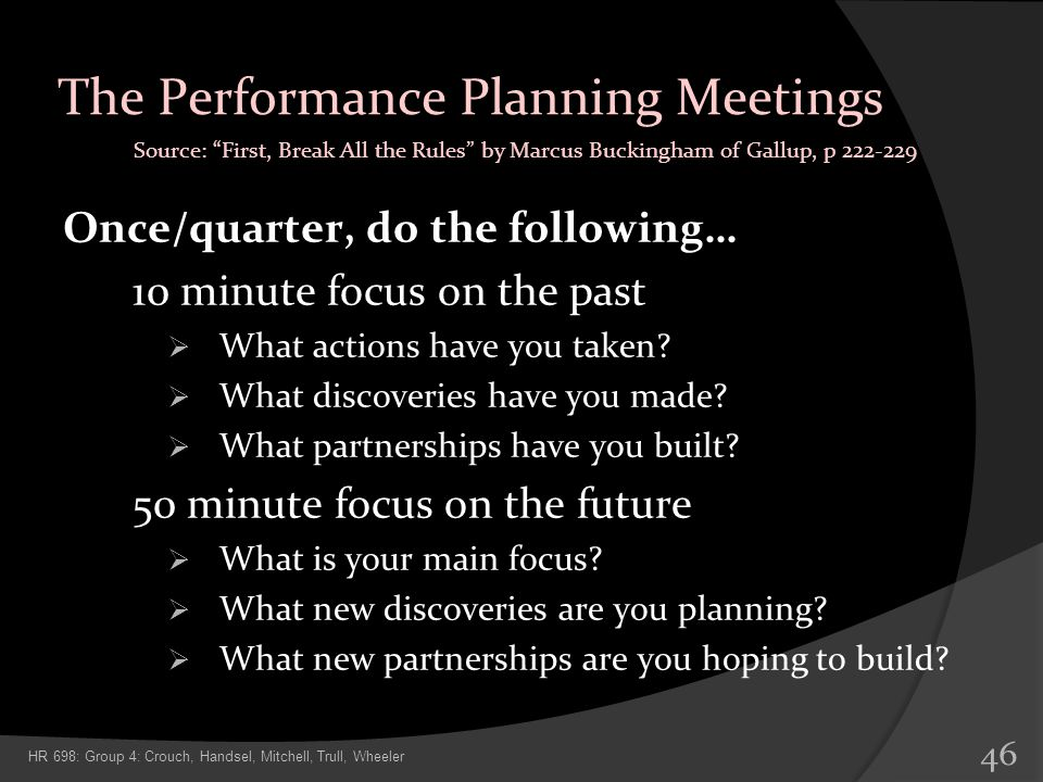 The Performance Planning Meetings