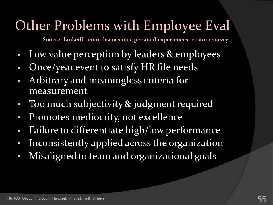 Other Problems with Employee Eval