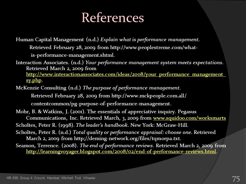 References Human Capital Management (n.d.) Explain what is performance management.
