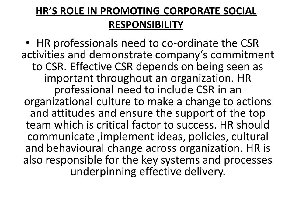 HR'S ROLE IN PROMOTING CORPORATE SOCIAL RESPONSIBILITY