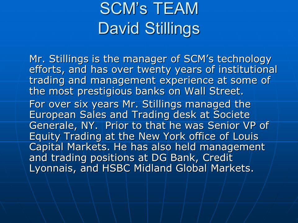 SCM's TEAM David Stillings