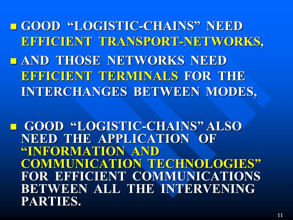 GOOD LOGISTIC-CHAINS NEED EFFICIENT TRANSPORT-NETWORKS,