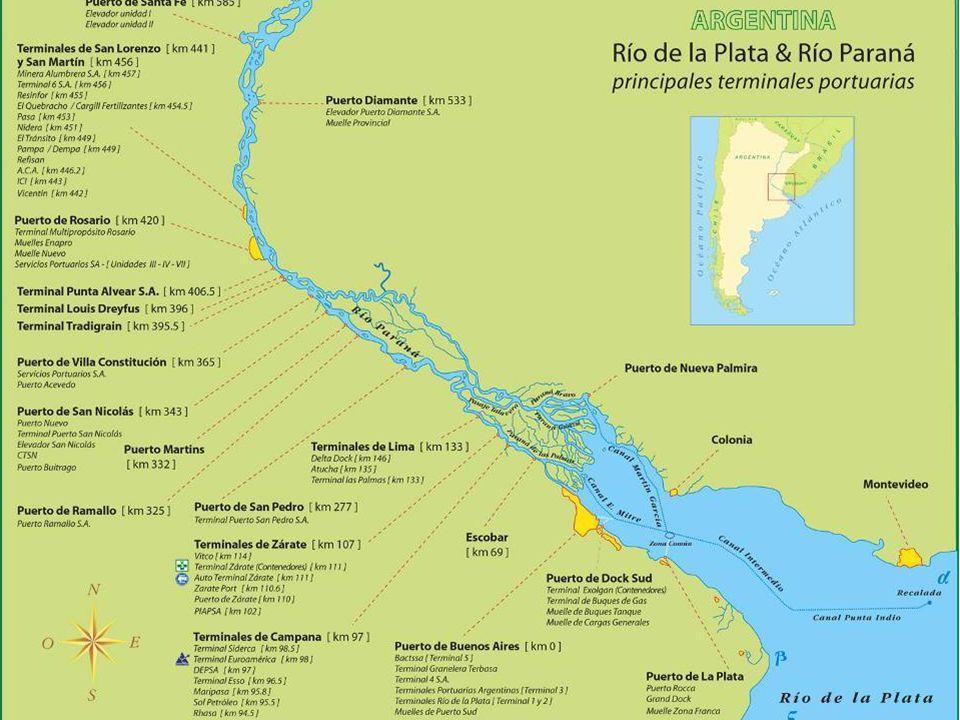 En este mapa se ve la parte más importante del sistema portuario argentino, formado por los puertos del Rio de la Plata y Rio Paraná, que va desde La Plata hasta Santa Fe.