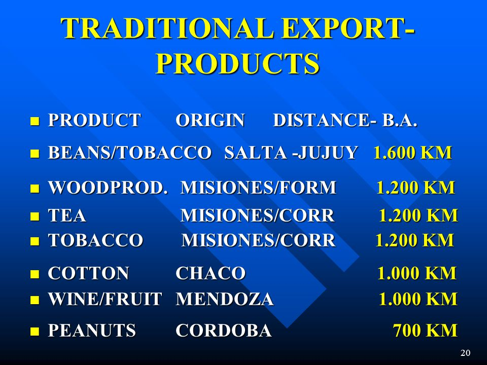 TRADITIONAL EXPORT-PRODUCTS