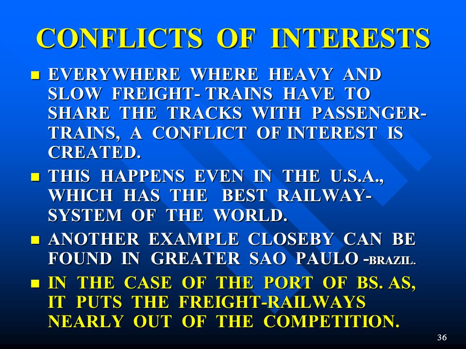 CONFLICTS OF INTERESTS