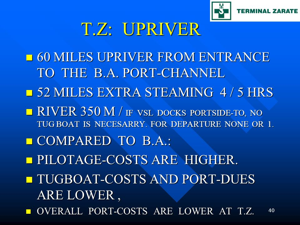 T.Z: UPRIVER 60 MILES UPRIVER FROM ENTRANCE TO THE B.A. PORT-CHANNEL