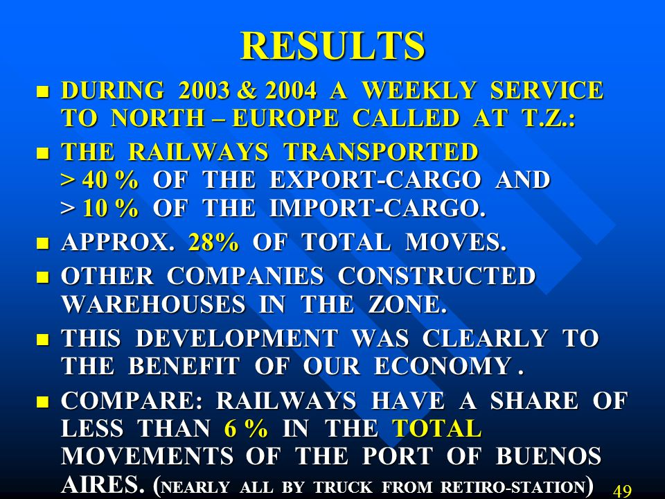 RESULTS DURING 2003 & 2004 A WEEKLY SERVICE TO NORTH – EUROPE CALLED AT T.Z.: