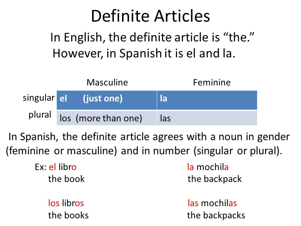 Definite Articles In English, the definite article is the. However, in Spanish it is el and la. Masculine.