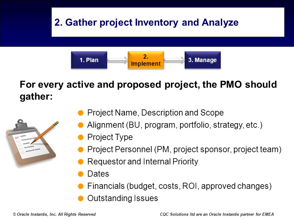 2. Gather project Inventory and Analyze