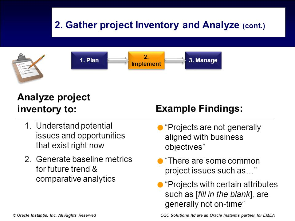 2. Gather project Inventory and Analyze (cont.)